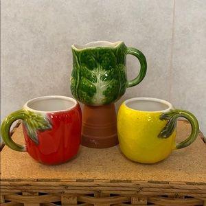 Vtg Horchow mugs lemon, red tomato & lettuce mug